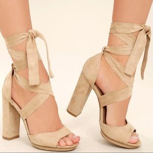 Suede lace up heels